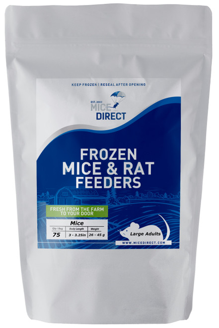 These are B-Grade quality.  These mice do not meet our visual standards, but they have the same nutritional value at A-Grade.  They may be slightly bloody or have more than a normal amount of moisture or feces or urine visible in the bag.  Availability is limited. They are a great way to save money on your feeders.    75 Large Adult Mice Are you tired of Running to Pet Store for reptile Food and  What you need is out of stock or what you buy is sized wrong?  Do they look bad, freezer burned or not fresh? We Have Exactly What You Need Delivered; Farm Fresh To Your Door!!! CUSTOMER SATISFACTION NO HASSLE 100% GUARANTEE !!! FROZEN ARRIVAL Guarantee!! SAME DAY PROCESSING MONDAY-FRIDAY before 1 EST.   DELIVERIES 7 Days a Week By FedEx! FREE SHIPPING with orders over $49! Under $49 is a $24 S&H. Rodents are fed Mazuri which is top zoo grade lab feed for the mice,  which in turn results in very healthy food for your pet. We do not take any shortcuts with the mice to improve our profit margins,  So you can rest easy that your pet is consuming the best and healthiest rodents. So whether you are feeding a corn, king, milk, boa or ball python, bearded dragon,  monitor, or any other reptile, amphibian, lizard or bird of prey,  you can rest easy that your pet is consuming the best and healthiest frozen Mice & Rats. The healthiest and safest frozen feeders for your pet!