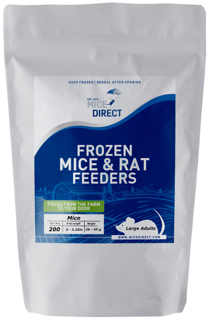 These are B-Grade quality.  These mice do not meet our visual standards, but they have the same nutritional value at A-Grade.  They may be slightly bloody or have more than a normal amount of moisture or feces or urine visible in the bag.  Availability is limited. They are a great way to save money on your feeders.    200 Large Adult Mice Are you tired of Running to Pet Store for reptile Food and  What you need is out of stock or what you buy is sized wrong?  Do they look bad, freezer burned or not fresh? We Have Exactly What You Need Delivered; Farm Fresh To Your Door!!! CUSTOMER SATISFACTION NO HASSLE 100% GUARANTEE !!! FROZEN ARRIVAL Guarantee!! SAME DAY PROCESSING MONDAY-FRIDAY before 1 EST.   DELIVERIES 7 Days a Week By FedEx! FREE SHIPPING with orders over $49! Under $49 is a $24 S&H. Rodents are fed Mazuri which is top zoo grade lab feed for the mice,  which in turn results in very healthy food for your pet. We do not take any shortcuts with the mice to improve our profit margins,  So you can rest easy that your pet is consuming the best and healthiest rodents. So whether you are feeding a corn, king, milk, boa or ball python, bearded dragon,  monitor, or any other reptile, amphibian, lizard or bird of prey,  you can rest easy that your pet is consuming the best and healthiest frozen Mice & Rats. The healthiest and safest frozen feeders for your pet!