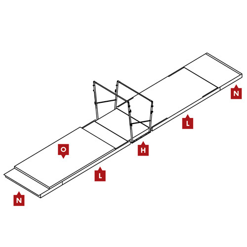 FIG Competition Uneven Bars Landing Mat Configuration
