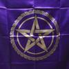 Purple & Gold  Pentagram Altar or Tarot Cloth
