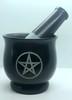 Mortar & Pestle Black Soapstone Pentagram Large 10cm x 10cm