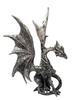 Dragon Statue Posing ~ Silver Resin 22cm