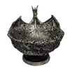 Dragon Bowl Silver Resin Breathing Fire ~ 21cm