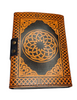 Leather Journal Orange Pentagram with Clasp Lock Handmade Parchment 2 - 120 Pages - 12cm x 17.5cm