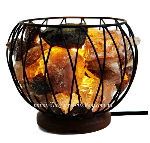 Smokey Quartz Crystal Cage Lamp
