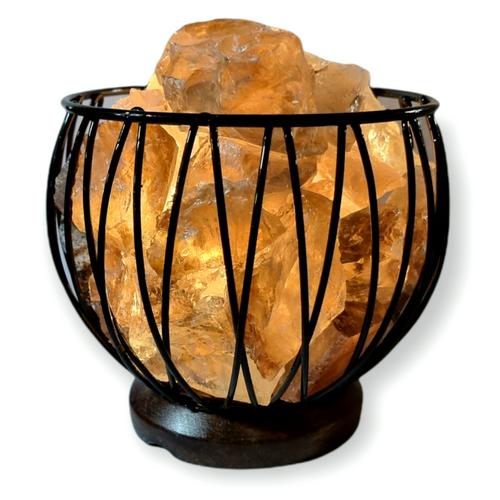 Smokey Quartz Crystal Cage Lamp