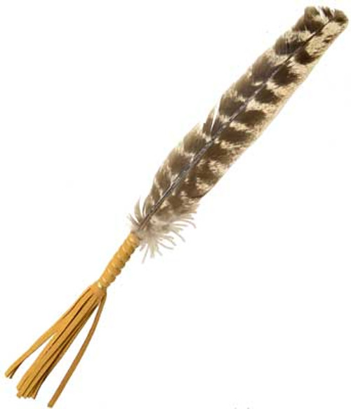 Leather Wrapped smudging feather 25cm