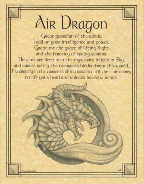 Air Dragon Poster on Parchment A4