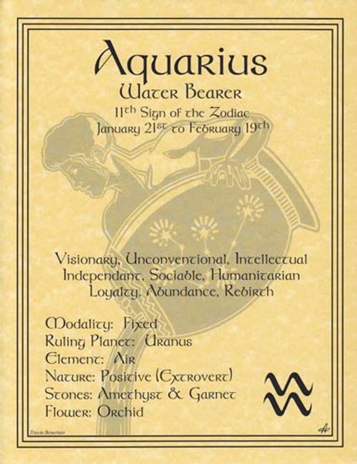Aquarius Zodiac Poster on Parchment A4