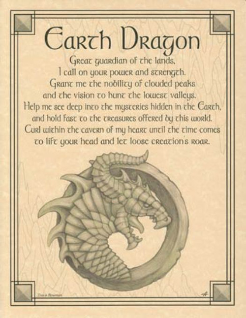 Earth Dragon Poster on Parchment A4