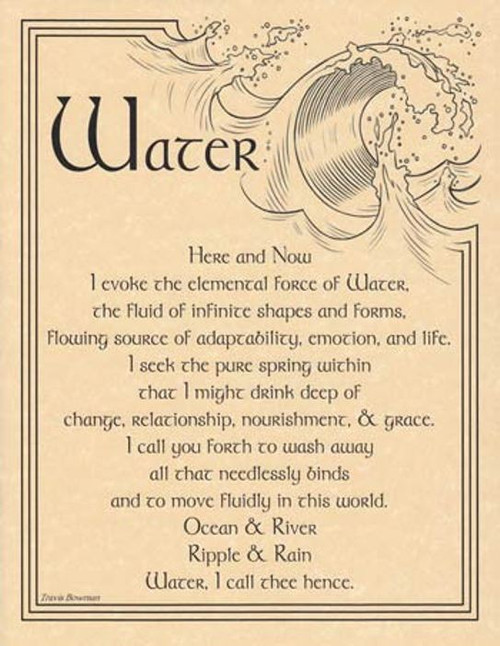 Water Evocation Poster on Parchment A4