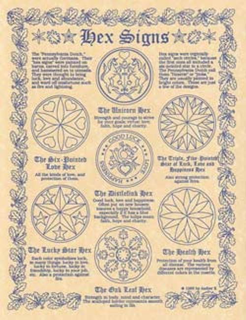 Hex Signs Poster on Parchment A4