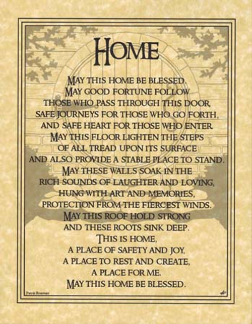 Home Blessing Poster on Parchment A4