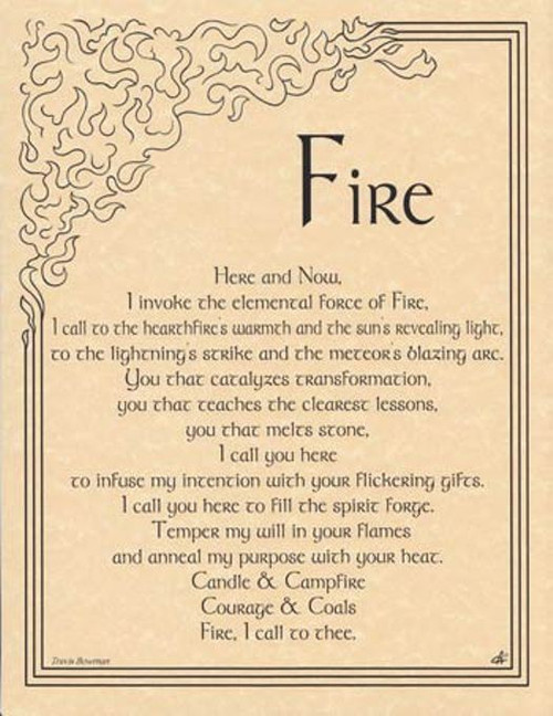 Fire Invocation Poster on Parchment A4