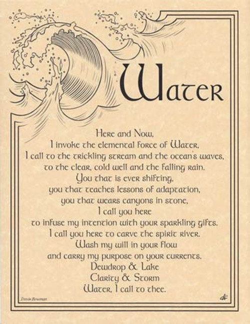 Water Invocation Poster on Parchment A4