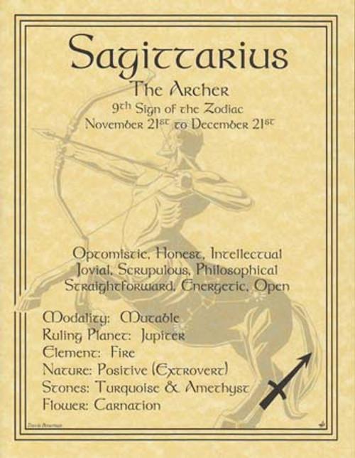 Sagittarius Zodiac Poster on Parchment A4