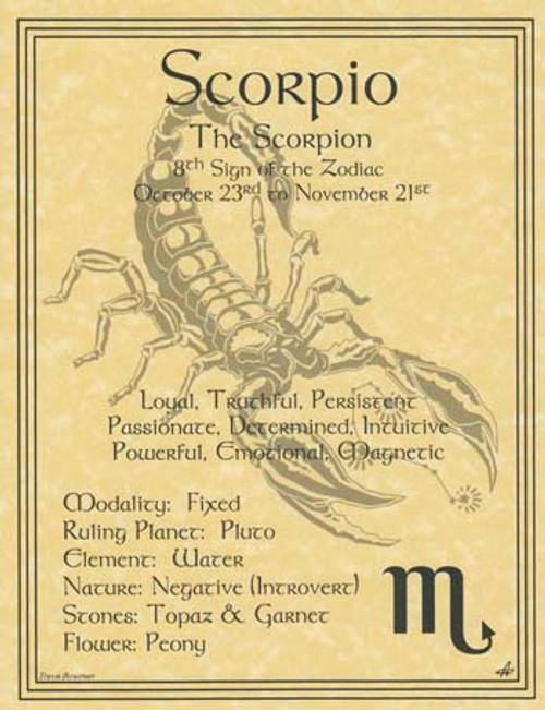 Scorpio Zodiac Poster on Parchment A4