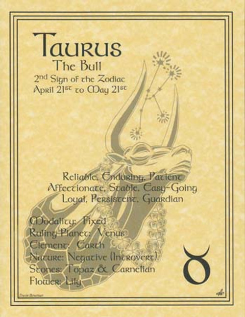 Taurus Zodiac Poster on Parchment A4
