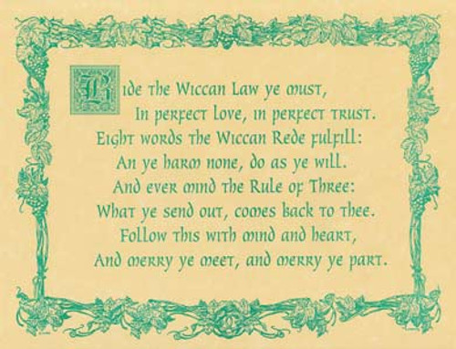 Wiccan Rede (law) Poster on Parchment A4