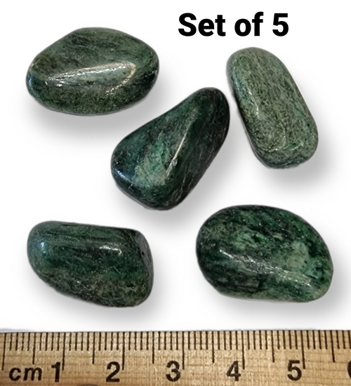 Fuchsite Tumbled Stone 15-25mm Crystal Grid Set of 5