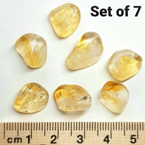 Citrine Tumbled Stone Mini 7-10mm - Gridding Set of 7