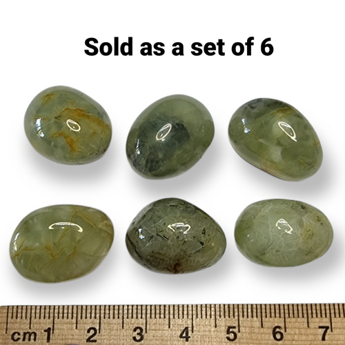 Prehnite Tumbled Stone 20mm Crystal Grid Set of 6 WAS $15 NOW $9
