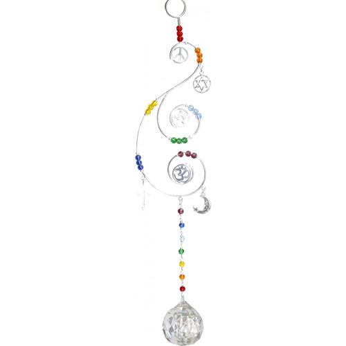 Multi Faith Sun Catcher with Crystal Glass Bead 33cm