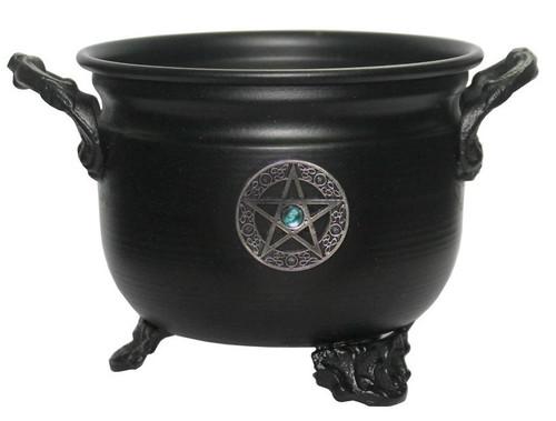 Cauldron Metal Black Pentacle Talisman 11cm