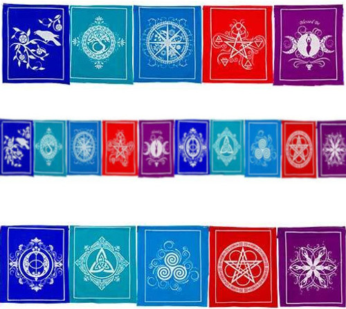 Wiccan Pagan Prayer Flags 84 Inches