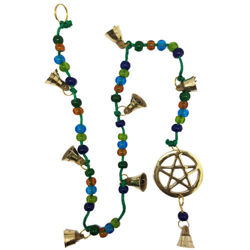 This lovely brass wind chime features the Pentacle symbol and several bells.