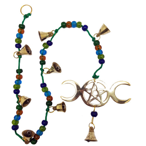 This lovely brass wind chime features the Triple Moon and pentagram symbol and several bells which create a beautiful soft ringing in the wind.