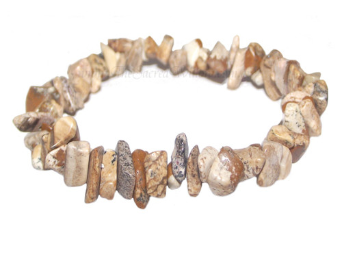 Picture Jasper Gemstone Chip Stretch Bracelet
