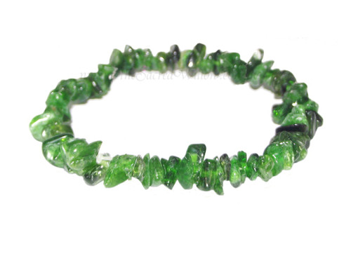 Green Demantoid Garnet Gemstone Chip Stretch Bracelet