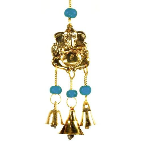 Three Bell Ganesh Wind Chime - BLUE BEADS