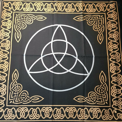 "60cm Gold Bordered Triquetra Altar or Tarot Cloth (24"")"