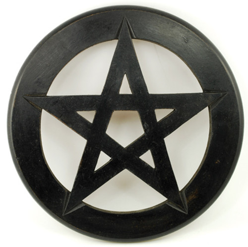 Black Wooden Pentragram Wall Hanging.
