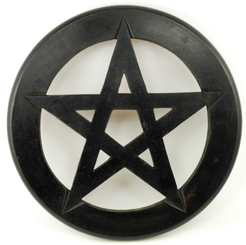 Black Wooden Pentragram Wall Hanging.