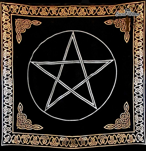 90cm Gold Bordered Pentagram Altar or Tarot Cloth