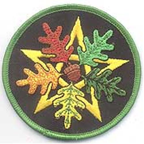 "Pentagram Oak Leaf Embroidered 3"" Iron On Patch"