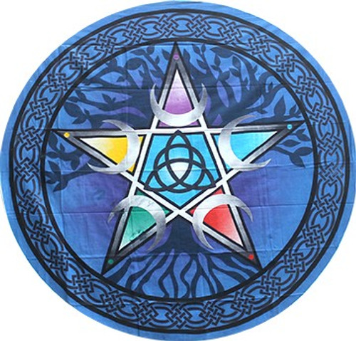 Round Pentacle Tapestry 60 inch 100% Cotton