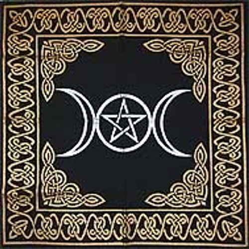 60cm Triple Moon Pentagram Altar or Tarot Cloth