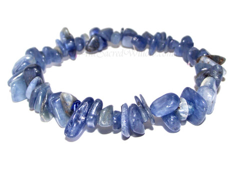Blue Kyanite Gemstone Chip Stretch Bracelet