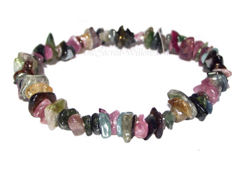 Mixed Colour Tourmaline Gemstone Chip Stretch Bracelet
