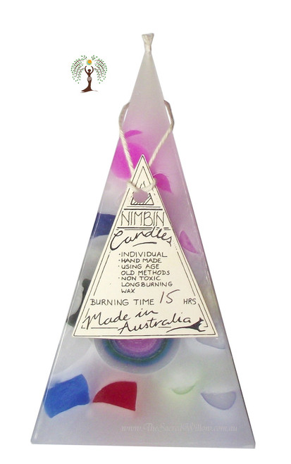 Hand Made Funky White Pyramid Candle