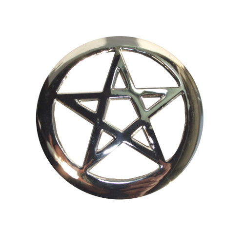 Silver Plated Cut Out Pentagram Altar Tile 8cm