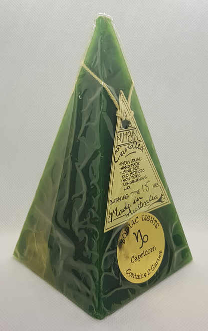 Hand Made Zodiac Lights Dark Green Capricorn Pyramid Candle