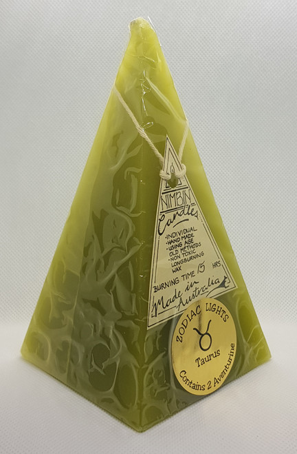 Hand Made Zodiac Lights Lime Taurus Pyramid Candle