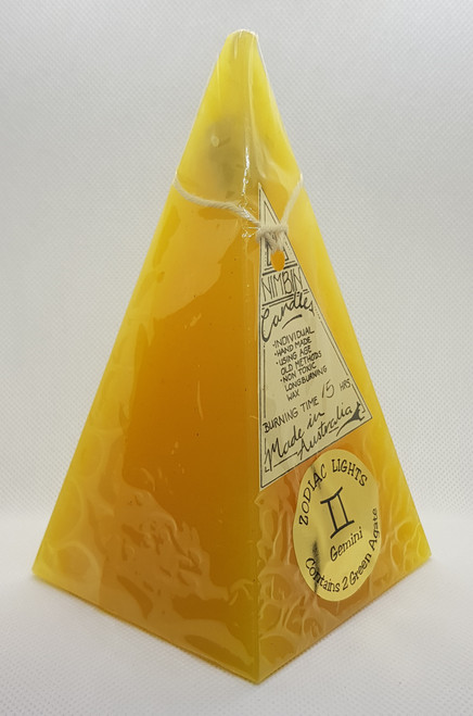 Hand Made Zodiac Lights Yellow Gemini Pyramid Candle