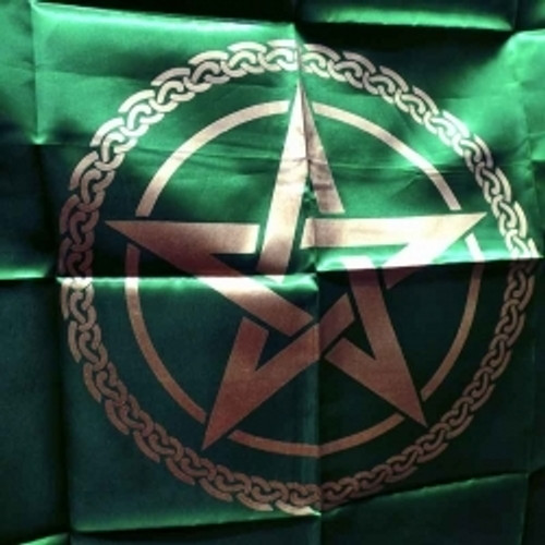Green & Gold  Pentagram Altar or Tarot Cloth