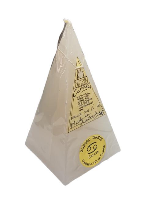 16cm White Cancer ZODIAC LIGHTS Pyramid Candle - Non-Toxic